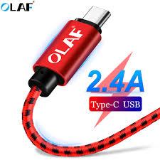 <b>OLAF Nylon</b> braided 2.4A <b>Type C</b> Micro USB Fast Charging Cable ...
