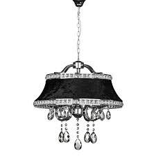 premier housewares krystle pendant light chrome iron frame black shade