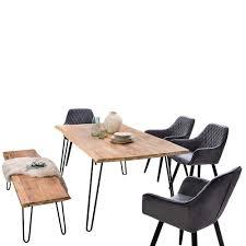 Akazie Esszimmer Set Tisch Bank Uniria 6 Teilig