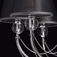 Mw Light 684010408 Jugendstil Kronleuchter Modern Metall Chrom Schirmchen Schwarz Mit Kristall 8 Flammig X 40w E14