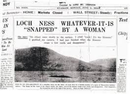 「1933年 - ヒュー・グレイが「ネッシー」の写真を初めて撮影。」の画像検索結果