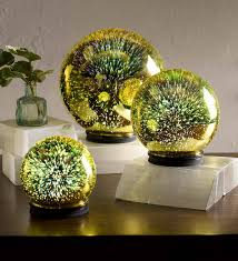 3d lighted mercury glass set of 3 yellow