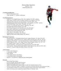Resume for professional soccer player