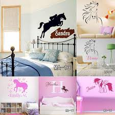 custom diy personalized name jumping horse wall sticker riding animal vinyl wall art nursery decals home decor for kids room letter wall stickers love wall  on horse wall decor stickers with custom diy personalized name jumping horse wall sticker riding