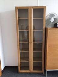 ikea billy bookcases oak veneer with glass doors 40cm x 202cm and 80cm x 202cm