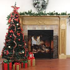 Plaid Christmas Tree 9 Pre Lit Pop Up Decorated Red Plaid Artificial Christmas Tree