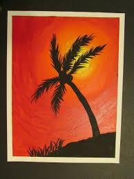 grade palm tree silhouette painting on canvas board x lesson by art teacher susan joe