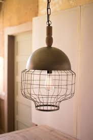 181 8 kalalou caged pendant light with metal dome and turned wood