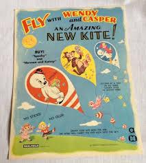 casper candy sticks. $9.95 1960s casper \u0026 wendy paper kite kit vintage saalfield harvey cartoons the ghost - 88863 candy sticks