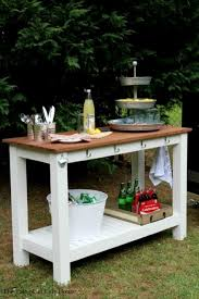 a rustic outdoor buffet using lerhamn table from ikea