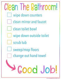 Bathroom Chart For Kids Kids Bathroom Cleaning Checklist Printable Cleaning