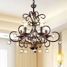 rod iron lighting. Elegant American Country Vintage Wrought Iron Pendant Light Crystal K9 Candle Fixture Lighting RH Loft Lamps Decoration-in Chandeliers From Lights Rod A