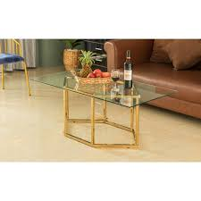 rectangle gold glass coffee table