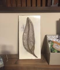 Feather or Leaf nail and string art on wood. by MolliesPaintings ...