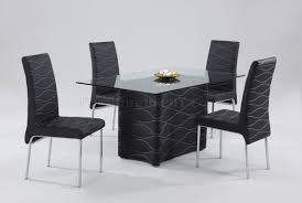 Black Modern Dining Room Glass Top Table Woptional Chairs
