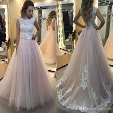 discount elegant blush wedding dresses 2017 lace top a line tulle