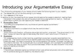 Argumentative Essay Introduction To Persuasive Essay Komphelps Pro