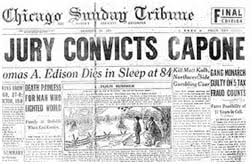 al capone death newspaper account of al capone s conviction on tax evasion