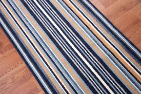 navy blue runner rug stripe long wide narrow stair carpet cut and white