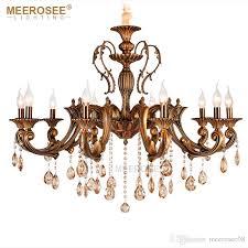 vintage crystal chandelier lighting fixture for dining room foyer brass res de cristal luxury pendant lamp indoor lighting cream chandelier flower