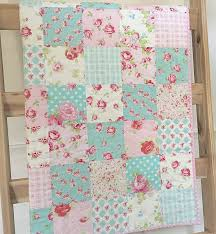 Roses baby quilt pink-blue-teal-aqua floral crib bedding & Like this item? Adamdwight.com