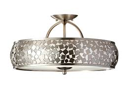 full size of brushed steel saucer pendant chandelier style 71230 3 light semi flush ceiling with