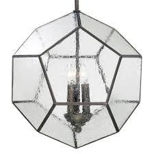antique bronze modern seeded glass pentagon pendant light fixture kathy kuo home