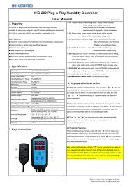 Ihc 200 Plug N Play Humidity Controller User Manual