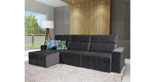 sofá 5 lugares retrátil reclinável chaise chumbo benson