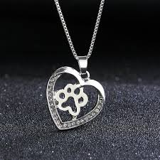 whole fashion necklace cute dog paw pendant necklaces rhinestone silver plated for women necklaces pendants gift pendant necklace silver pendant