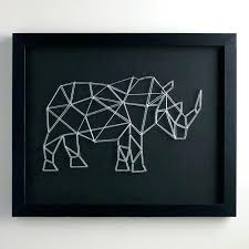 >black wall art guys bachelor pad wall art string rhino on black  black wall art guys bachelor pad wall art string rhino on black canvas black metal wall