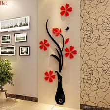 3d Wall Art Wholesale Wall Stickers Acrylic 3d Plum Flower Vase Stickers Vinyl