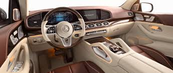 Designo diamond white metallic exterior with macchiato and mahogany nappy leather interior and features the designo brown liden. The New Mercedes Maybach Gls