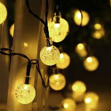 Solar String Lights 30 Led Crystal Ball String Lights Warm White