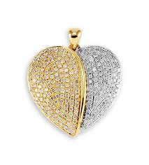 new 14k yellow white gold diamond puffed heart pendant