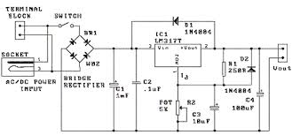 circuit zone com electronic projects electronic schematics diy 1 5v 30v 1 5a lm317 variable power supply