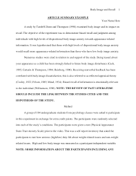 Research Paper Apa Sample Apa Article Summary Example