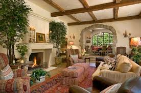 Mediterranean Decor Living Room Shiny Wooden Table Just Around Arm Chairs And The Couch For