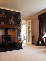 black & silver feature wall - Little Greene Mirage II on other walls