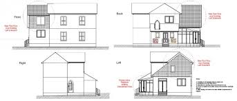 elevation view of front and sides of a house 2d