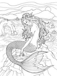Small Picture Mythical Mermaids Coloring Book dover Patterns and Motifs 1
