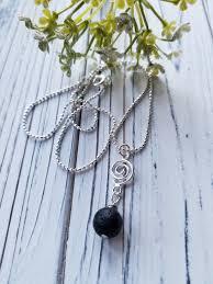 lava stone pendant necklace lava rock oil diffuser necklace spiral charm silver chain black rock necklace last minute gift idea