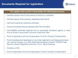 Vendor Registration Process Followed By Eskom For New Registration