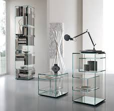 Glass Bookshelf Modern Standing Metal Based Bookcase With Black Glass Shelves With