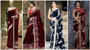 Latest Velvet Saree Designs Velvet Saree Latest Designs Velvet Party Wear Saree Designs 2019