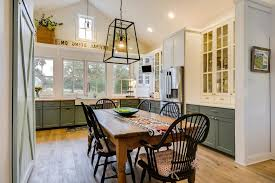 kitchen table runner kitchen farmhouse with wood dining table cage pendant lights