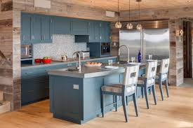 rustic wood country blue kitchen