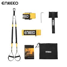 enkeeo resistance suspension workout straps body trainer with door anchor included for fitness cross fit full body workouts