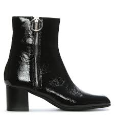 black patent leather exposed zip ankle boots