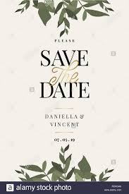 Save The Date Template With Green Eucaliptus Branches And